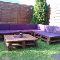 Уличный набор мебели из паллет для сада МС114