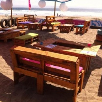 Необычные столы из паллет для кафе-бара МК216